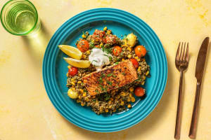Middle Eastern-Spiced Salmon Freekeh Bowl image