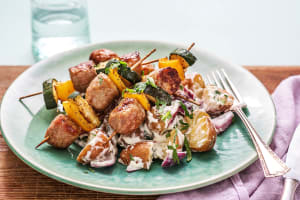 Caribbean-Spiced Veggie and Sausage Skewers image