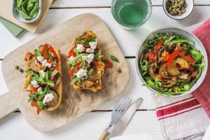 Bruschetta italienne avec des légumes poêlés image