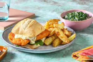 Visburger met meerzadenvisschnitzel en ravigotesaus image