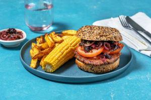Vegan burger met BBQ frietjes image