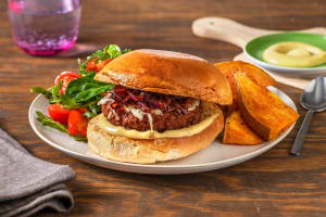 Veggie Burgers and Caramelized Onions image