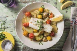 Cabillaud à la méditerranéenne et pommes de terre à l'étuvée image