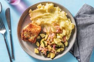Cabillaud pané au pesto & purée de pommes de terre image