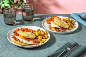 Cheesy Bacon and Egg Naan-Wich with Masala Beans and Breakfast Potatoes image