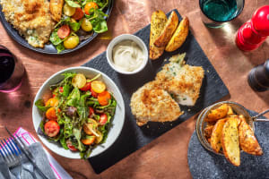 Cheesy Garlicky Chicken Kievs with Rosemary Wedges image