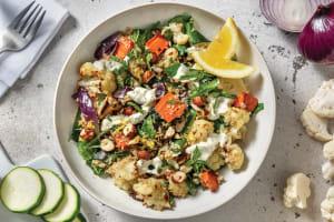 Chermoula Cauliflower & Bulgur Wheat with Dill & Parsley Mayo & Lemon Hazelnut Topping image