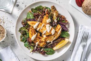Chermoula Chicken & Roast Veggie Quinoa with Lemon-Tahini Dressing image