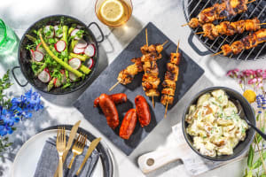 Chicken and Halloumi skewers, Chorizo Sausages image