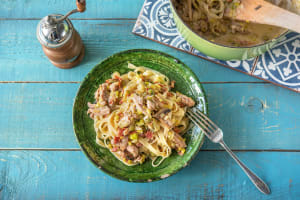 Erica's Chicken & Bacon Cream Cheese Fettuccine image