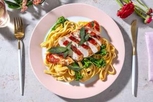 Chicken Saltimbocca with Creamy Tagliatelle, Crispy Sage and Tenderstem® image