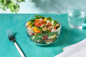 Chicken, Serrano Ham, Mozzarella Salad with Tomatoes & Pesto Dressing image