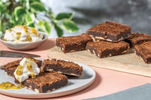 Coconut & White Chocolate Brownies with Passionfruit Cream image