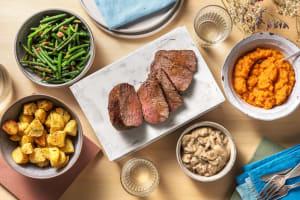 Contrefilet de bœuf, sauce à la crème et aux champignons image