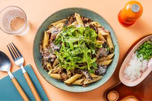 Creamy Mushroom Pasta with Bacon Lardons image