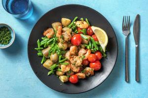 Crevettes à l'ail et tomates cerises cuites image