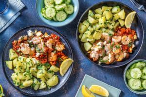 Crevettes et feta rôtie façon saganaki image