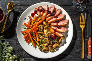 Crispy Skinned Duck Breast with Blueberry Balsamic Glaze, image