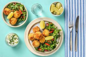 Croquettes de saumon & yaourt aux herbes image