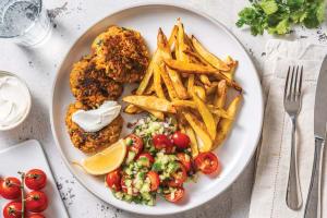Curried Chickpea Patties & Fries with Cherry Tomato-Cucumber Salad & Lemon Yoghurt image