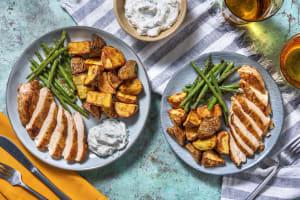 Curried Crispy Chicken Breast and Turmeric Roast Potatoes image