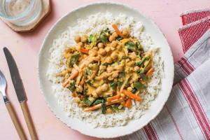 Milde curry met spinazie en kikkererwten image