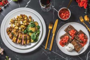 Dijon & Herb Crusted Lamb with Dill-Fetta Potatoes & Sautéed Zucchini Salad image