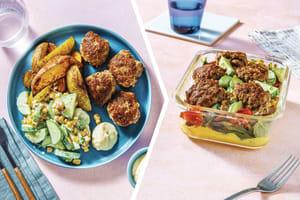 Caribbean Pork Rissoles with Wedges & Corn Slaw for Dinner image