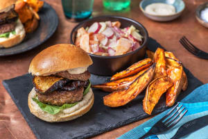 Double Miso Beef Burger and Sticky Aubergine image