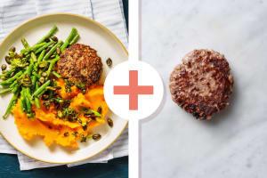 Dubbele Duitse biefstuk met pittige zoete-aardappelpuree image
