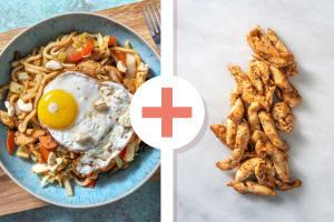 Snelle wokschotel met dubbele portie kipfiletreepjes image