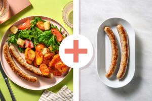 Italiaanse panzanellasalade met dubbele portie varkensworst image