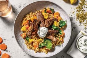 Dukkah Beef & Freekeh Bowl with Roasted Veggies & Dill Yoghurt image