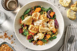 Dukkah Cauliflower & Roast Veggie Freekeh Salad with Garlic Yoghurt image