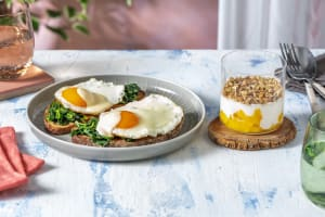 Eggs Florentine and Mango Granola Parfait image