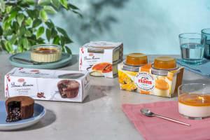 Ensemble de desserts : Panna Cotta Mangue & Fruit de la passion | Creme Brulée | Fondants aux chocolat image