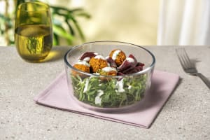 Falafel, Pea Shoot and Beetroot Salad with a Dill Yoghurt Dressing image