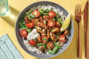 Falafel Rice Bowl with Almonds & Herby Yoghurt image