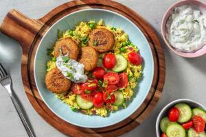 Crispy Falafels on Spiced Pilaf image