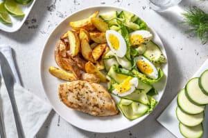 Kipfilet met tuinkruiden en aardappelpartjes image