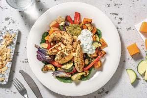 Herby Chicken Tenders & Roast Veggie Toss with Pesto & Tzatziki image