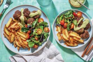 Mediterranean Beef Rissoles & Cheesy Fries image