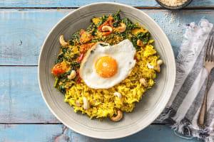 Gele rijst met spinazie-kokoscurry image