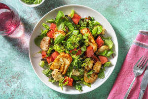 Golden Halloumi, Fresh Watermelon and Pea Salad image