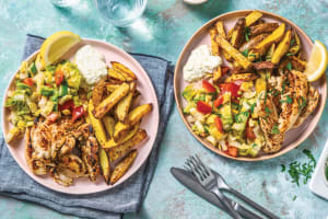 Greek-Style Chicken & Lemon Pepper Fries image