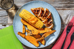 Grilled Sticky Chicken with Sesame Sweet Potato Wedges image