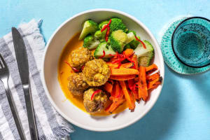 Hacktätschli in Currysauce mit Ofenrüebli image