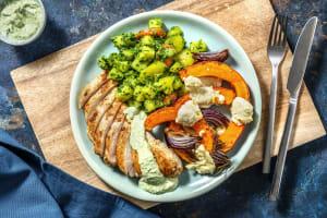 Hähnchenbrust mit Pesto-Gemüse und Kürbis image