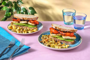 Halloumi, Balsamic Roasted Pepper and Avocado Brunch Sarnie with Breakfast Potatoes image