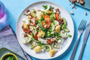 Haricots blancs en salade avec de la mozzarella di buffala image